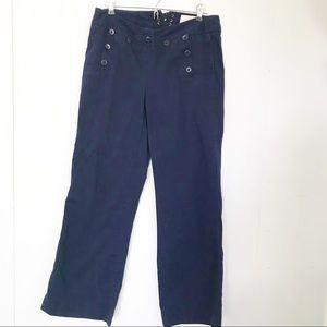 J. Crew | Navy Button Front Sailor Wide Leg Pants